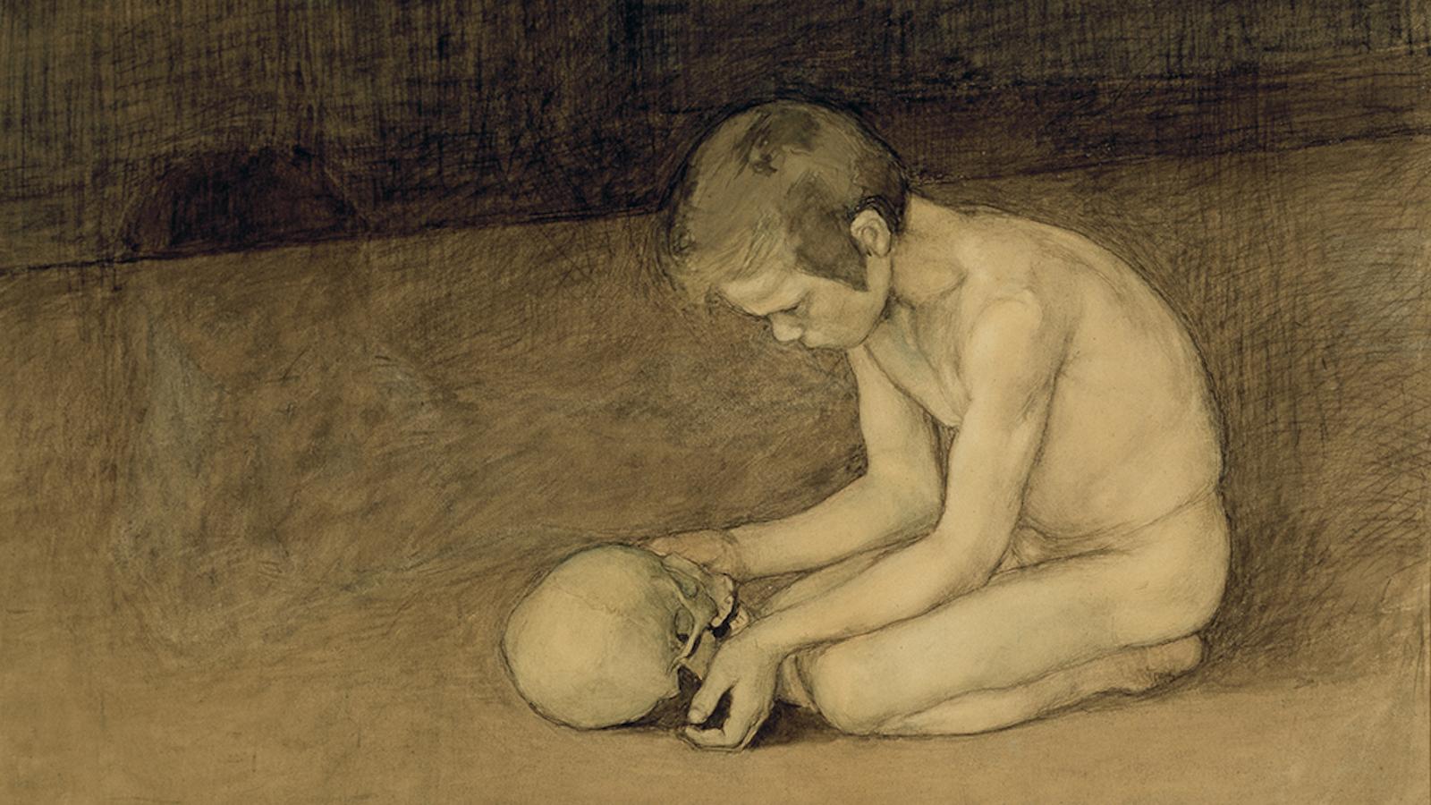 Magnus Enckellin teos Poika ja pääkallo vuodelta 1893.